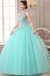 Ball Gown Sleeveless Floor-length High Neck Organza Tulle Prom Dress with Lace-up Keyhole Back
