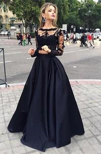 Long-Sleeves Satin Ball-Gown Princess Floor-Length Bateau-Neck Dress