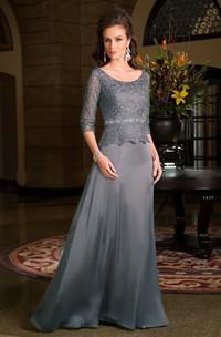 Scoop-neck Long Sleeve 3-4-sleeve Mother of the Bride Dress