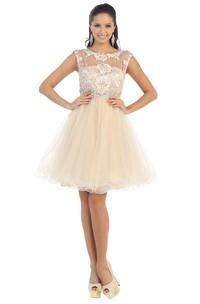 A-Line Waist Jeweler Appliqued Mini Jewel-Neck Tulle Cap-Sleeve Illusion Dress