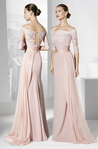 Off-the-shoulder Illusion High-low Floor-length Dress