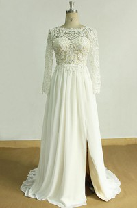 Bateau Lace Long Sleeve A-line Split Front Wedding Dress With Appliques And Deep-V Back