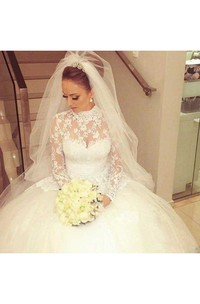 High Neck Lace Tulle Illusion Long Sleeve Wedding Dress