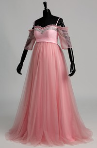 Off-the-shoulder Half Sleeve Empire Maternity Beading Ruffles Dress