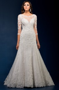Scoop-neck Illusion 3-4-sleeve Trumpet Gown With Appliques And Keyhole