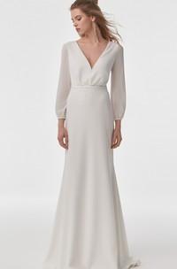 Simple Modern Long Sleeve Sheath Chiffon V-neck Wedding Dress with Cowel Back