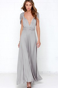 Jersey Sleeveless Dress With Convertible Straps