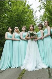 A-line Sleeveless Floor-length Sweetheart Chiffon Bridesmaid Dress with Zipper Back
