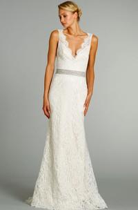 Floor-Length Crystal Embroidered Belt V-Neckline Stunning Lace Gown