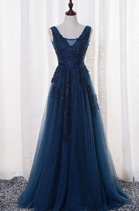 Sleeveless A-line Tulle Appliqued Prom Dress With Pleats And Deep-V Back