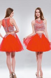 2-Piece Illusion Tulle Ruffled Jeweled A-Line Short Scoop-Neck Mini Sleeveless Dress