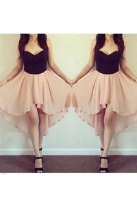Sleeveless A-line High-low Sweetheart Pleats Chiffon Homecoming Dress