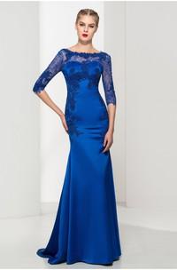 Elegant Satin and Tulle Mermaid Bateau Half-Sleeve low-V Back Dress