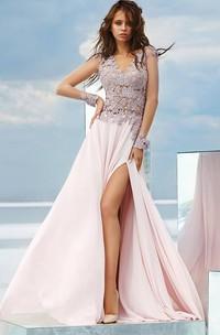 A-line Floor-length V-neck Long Sleeve Chiffon Low-V Back Dress