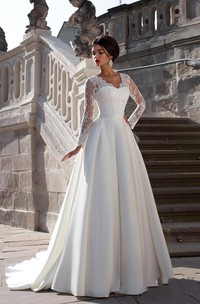 Satin Lace Back Long Sleeves V-Neckline Glamorous Gown