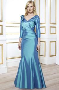 Satin Ruched Long-Sleeve V-Neckline Mother Of The Bride