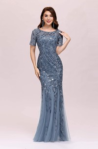 Jewel Tulle Sequins Short Sleeve Floor-length Illusion Formal Dress with Pleats