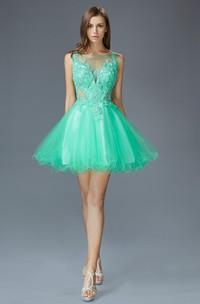 A-Line Jeweled Appliqued Short Mini Sleeveless Bateau Low-V-Back Dress