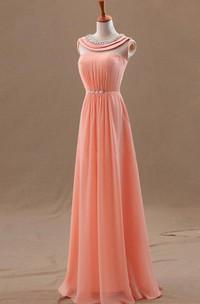 Scoop-Neck Es Floor-Length Princess A-Line Chiffon Gown
