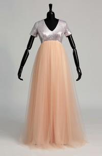 V-neck Short Sleeve Empire Ruching Ruffles Dress
