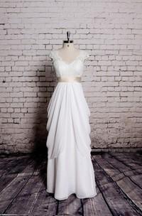 Cap-Sleeve Champagne Satin Ribbon Design Special Dress