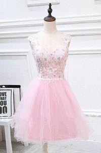 Lace Jewel Appliques Tulle Short A-Line Dress