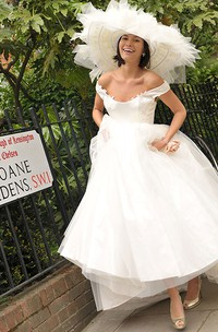 Off-the-shoulder A-line Satin Appliqued Wedding Dress With Tulle Overlay