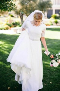 Scalloped Chiffon Lace Illusion Half Sleeve Wedding Gown