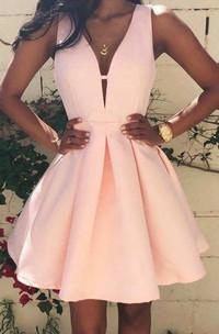 A-line Short V-neck Sleeveless Satin Dress with Pleats