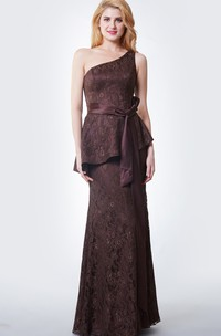 Slinky Trumpet Long Lace Dress With Peplum and Satin Sash