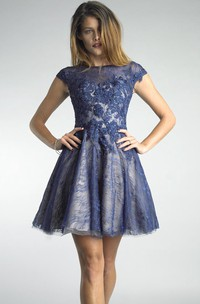 Mini Short-Sleeve Illusion Short A-Line Lace High-Neckline Gown
