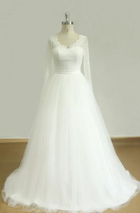 V-Neck Long Sleeve Tulle Lace Satin Dress With Beading
