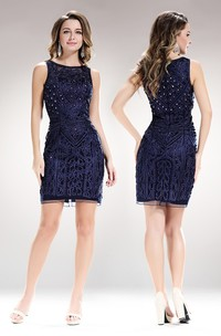 Sheath Short Jewel-Neck Sleeveless Dress With Beading And Lace