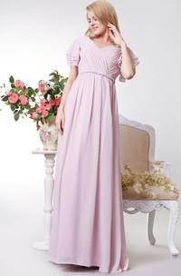 Long V-Neckline Short-Sleeve Empire Bridesmaid Dress