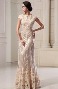 Column Lace Appliqued High-Neckline Romantic Floor-Length Dress