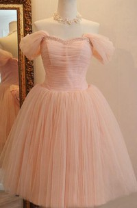 Charming Off-the-shoulder A-Line Short Tulle Dress