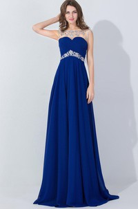 Long Jewel Embellishment Chiffon A-Line Floor-Length Dress