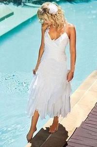 Halter Chiffon  Sleeveless Wedding Gown