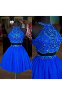 Sleeveless Two Piece Short Mini Halter High Neck Beading Chiffon Homecoming Dress