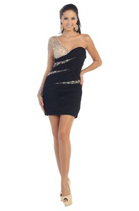 Pencil Short One-Shoulder Illusion Long Sleeve Zipper Dress With Ruching And Beading