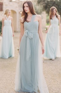 One-shoulder Tulle draped Bridesmaid Dress With Ruching And bow