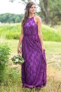 Ethereal Halter Sheath Sleeveless Floor-length Bridesmaid Dress