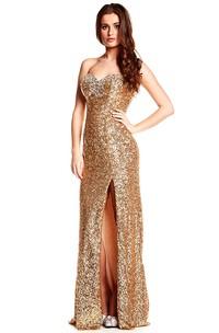 Sweetheart Front-split Sequined Floor-length Backless Dress