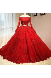 Ball Gown Long Sleeve Floor-length Off-the-shoulder Lace Tulle Prom Dress with Zipper Back