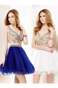 Short Cocktail Tulle Mini A-Line V-Neck Crystal Sleeveless Dress
