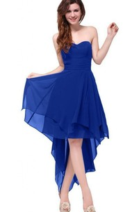Satin-Ribbon Layered Ruched Sweetheart Chiffon High-Low Dress