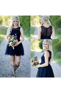 Bohemian Jewel Sleeveless Lace Tulle A-Line Dress