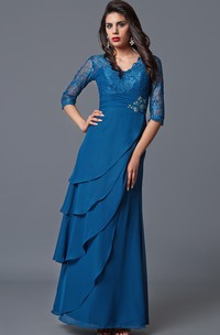 Chiffon V-Neckline Long-Sleeve Mother Of The Bride