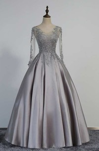 A-line Floor-length V-neck Illusion Long Sleeve Satin Dress with Pleats