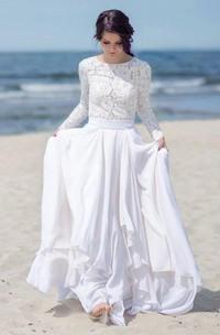 Chiffon Satin Lace Button Zipper Wedding Dress